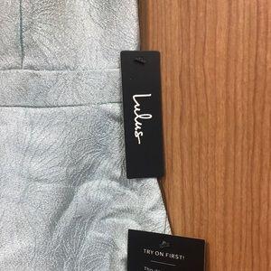 Light Blue Metallic Sleeveless Maxi/Prom Dress